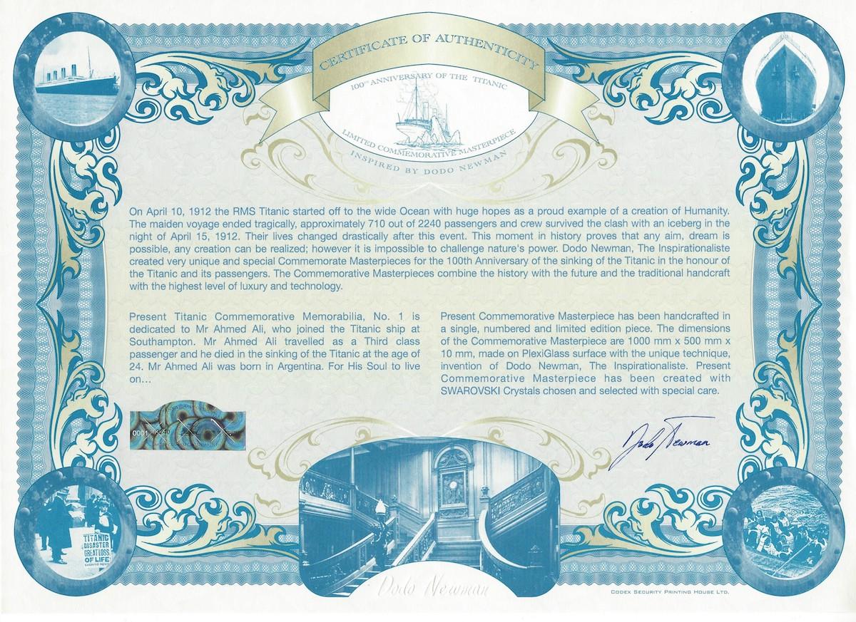 Certificate of the Titanic Commemorative Memorabilia